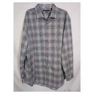 Perry Ellis Size 2X Black Gray Plaid Button Shirt